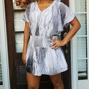 100% Silk Grey Cold Shoulder Dress